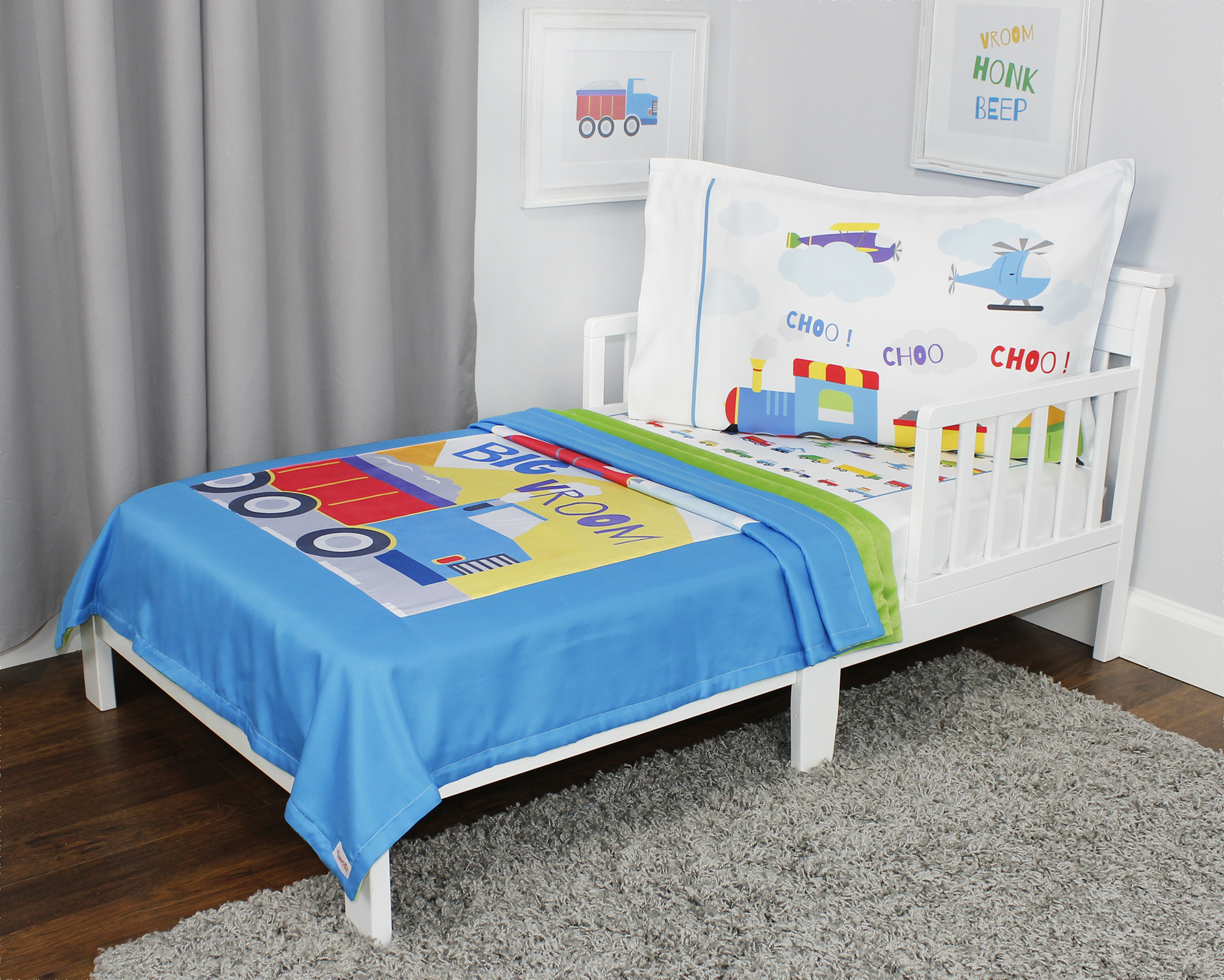 Cars Planes And Trains Toddler Bedding Set - 3pc Transportation Blanket And Fitted Sheet