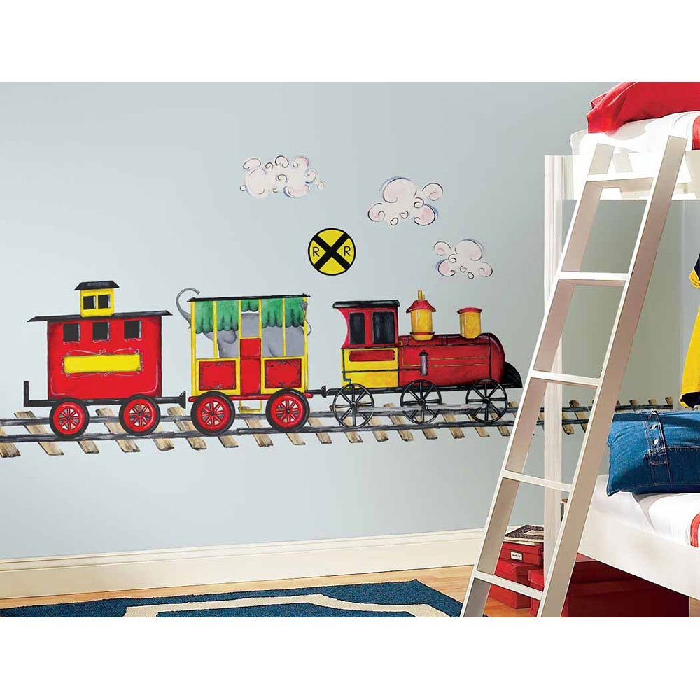 57pc all aboard train large wall accent set - Decor For Kids Bedroom