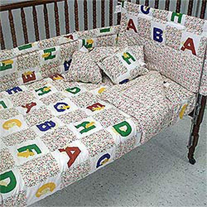 Alphabet Bears Comforter Set with Bumpers - Toddler-Crib Size