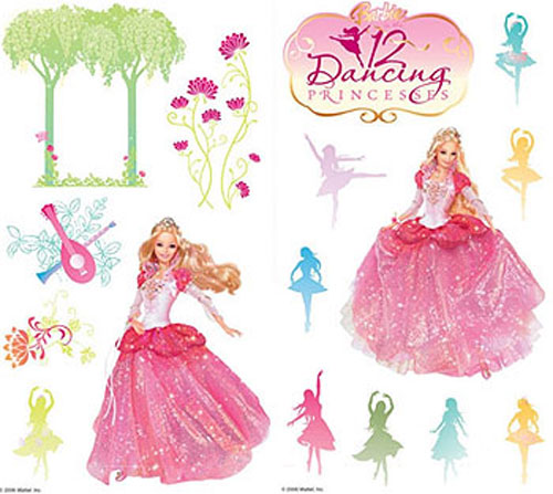 Barbie 12 dancing princesses peel and stick 28 wall for Barbie wall mural