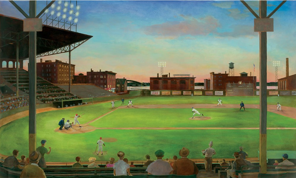 Baseball stadium wall mural sports study room wallpaper ebay for Baseball field wall mural