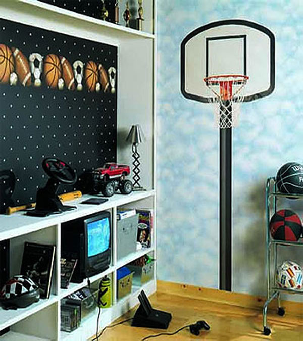 basketball hoop mural large prepasted wall accent
