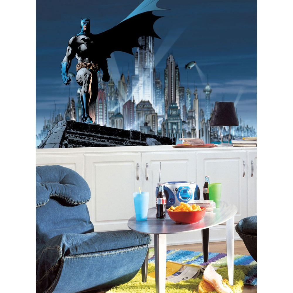 Heroic batman bedroom decor ideas batman gotham xl wall mural amipublicfo Image collections