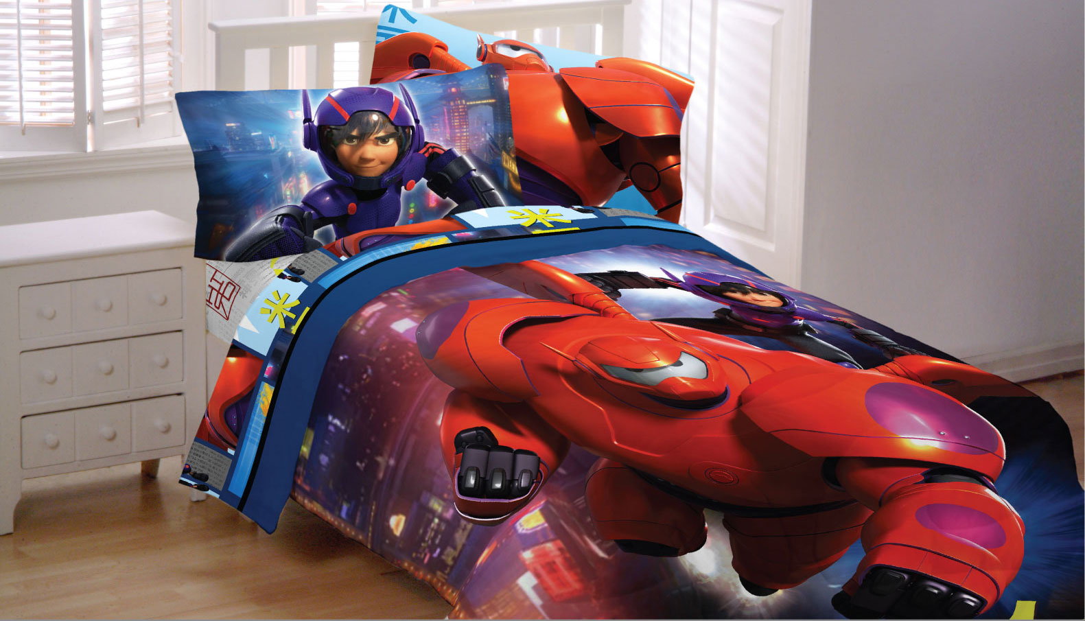 Disney Big Hero 6 Full Bedding Set - 5pc Baymax Robot Prodigy Comforter and Sheets MZL91E