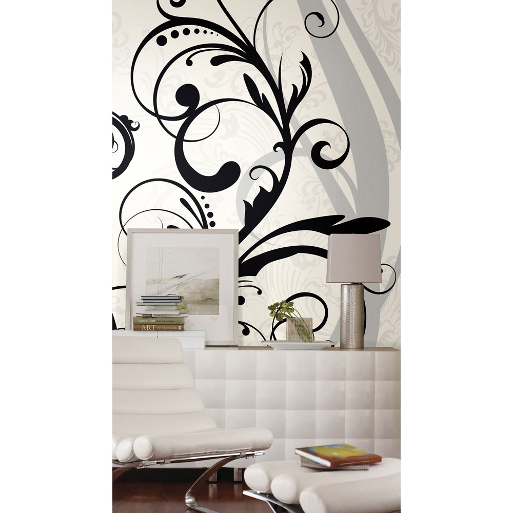 Black White Scroll Wall Mural - Swirl Wallpaper Accent Decor
