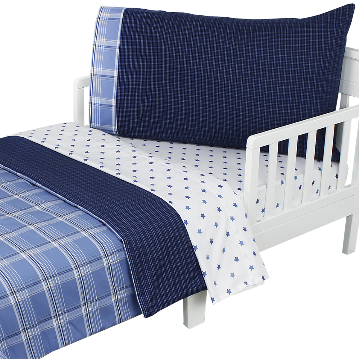 NoJo Westport Blue Plaid Toddler Bedding Set 4pc Comforter Sheets at Sears.com