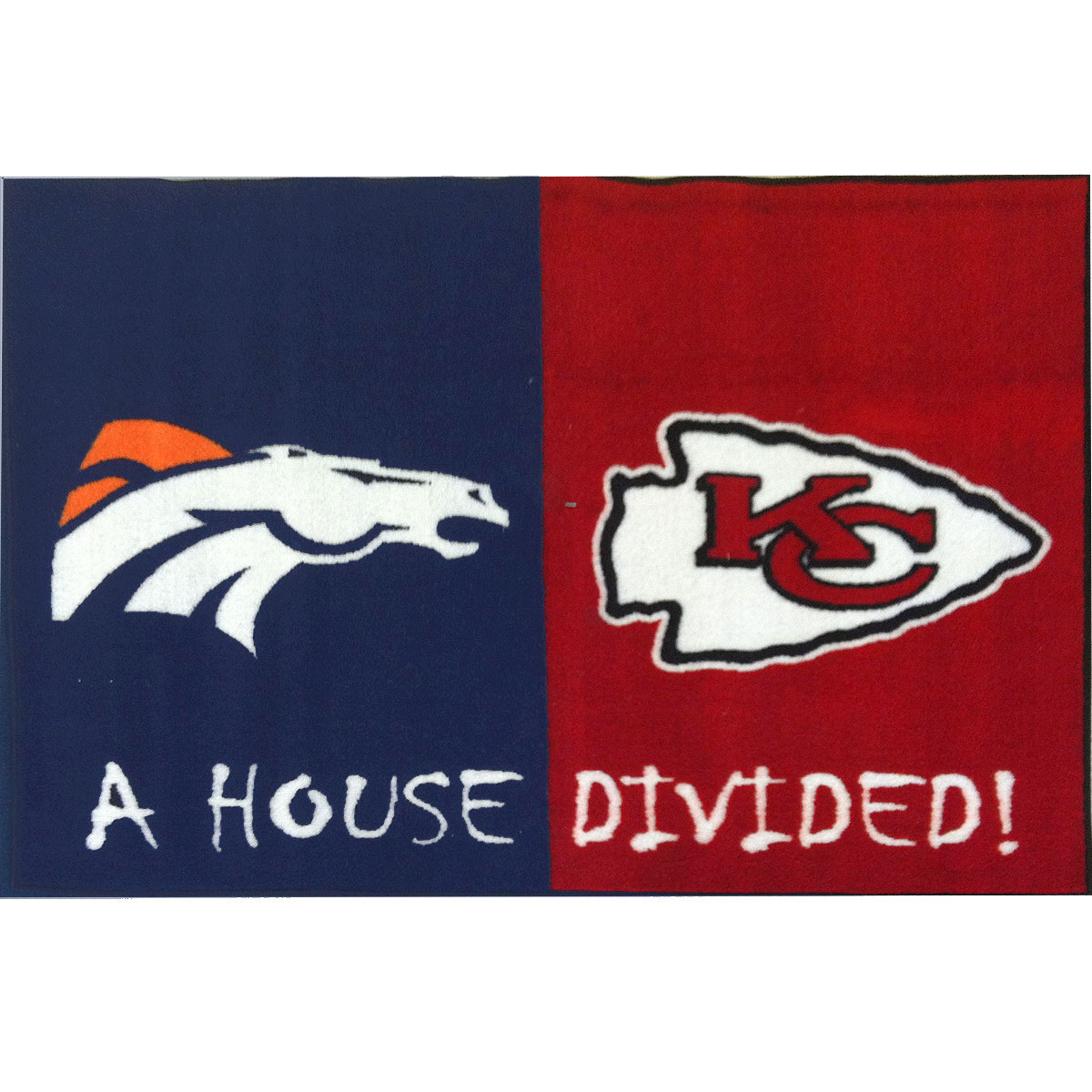 NFL Broncos-Chiefs House Divided Football Accent Floor Rug