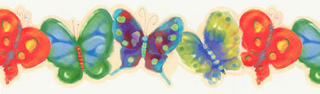 Watercolor Butterfly Wall Border Roll
