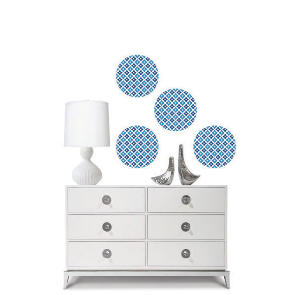 Carnaby Dots Wall Accent Stickers - 4pc Blue Geometric Circle Decals