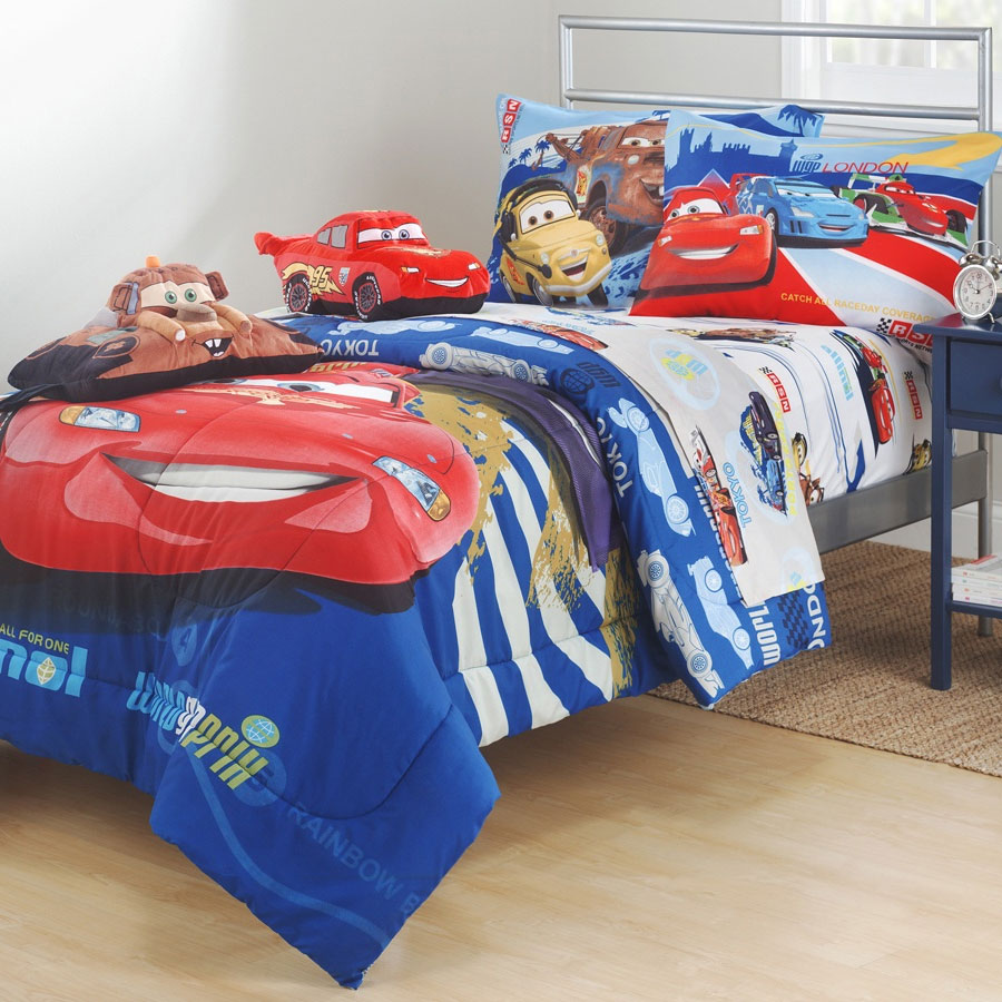 4pc disney cars mcqueen full sheet set track burn tow mater bedding