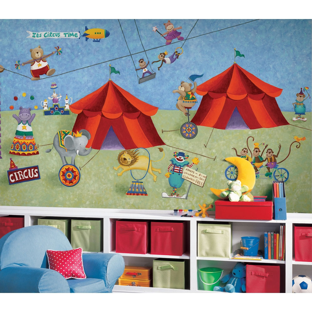 Circus animals wall mural big top wallpaper accent decor for Circus wall mural