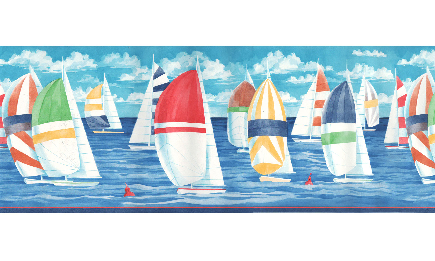 Colorful Sailboats Prepasted Wall Border