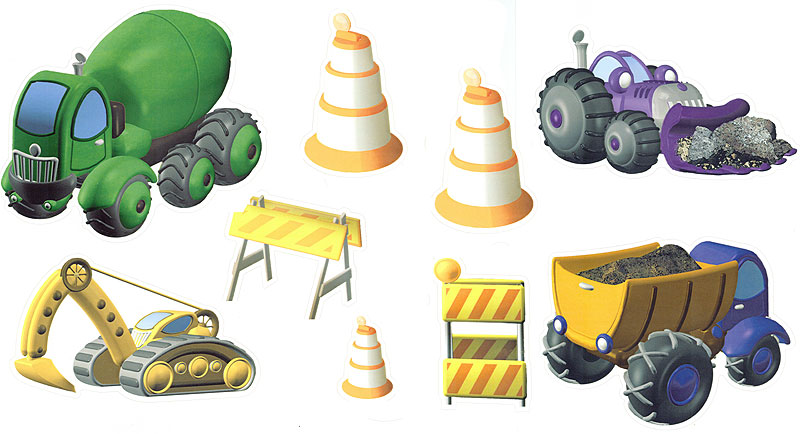 Construction Trucks - 10pc Self-Stick Wall Art