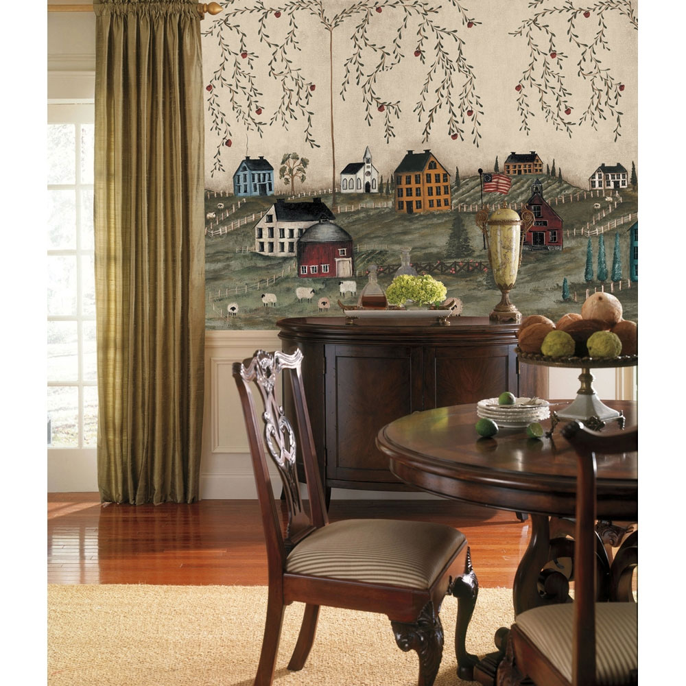 country wall mural primitive wallpaper accent decor