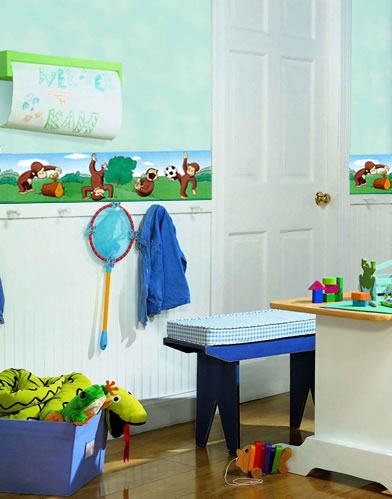 Italian chef wallpaper border wt1086b cafe kitchen chef for Curious george bedroom ideas