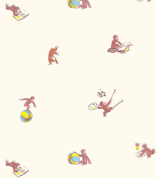 New curious george monkey large accent wall paper mural ebay for Curious george mural