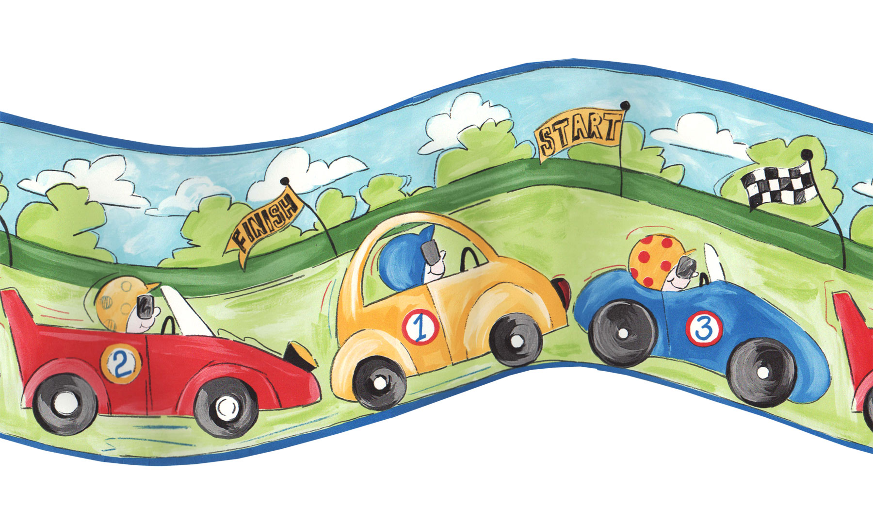 Race Cars Prepasted Wall Border Roll - Curvy Racing Wall Decoration