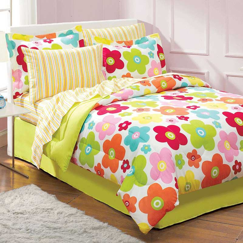 Floral Daisy Bedding Set - 6pc Flowers Comforter Set - Twin Bed