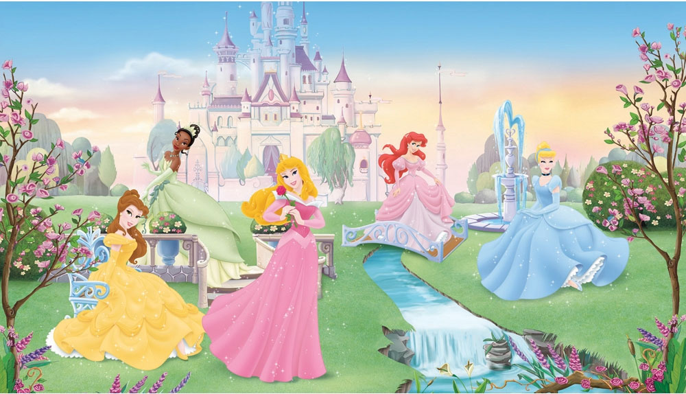 Disney princess wall mural 2017 grasscloth wallpaper for Disney princess mural stickers