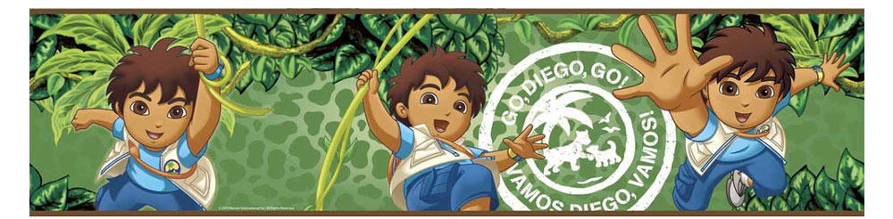 Go diego animal rescue set of 4 self stick wall borders for Go diego go bedding