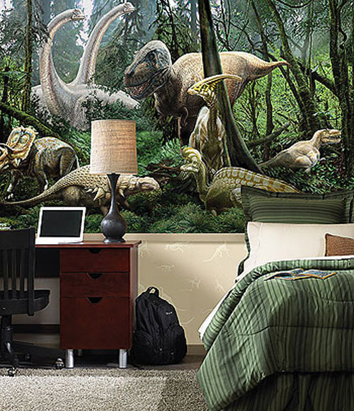 Fun dinosaur room decor ideas for Dinosaur mural ideas