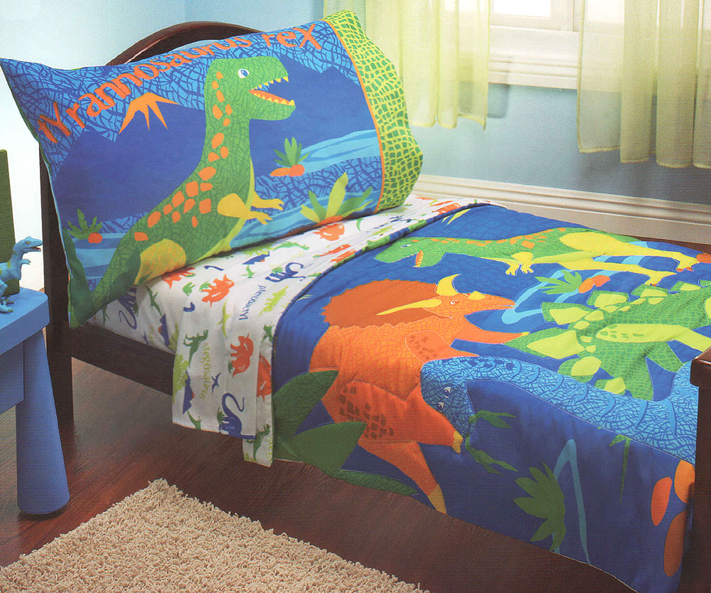 4pc Dinosaurs Toddler Comforter Set