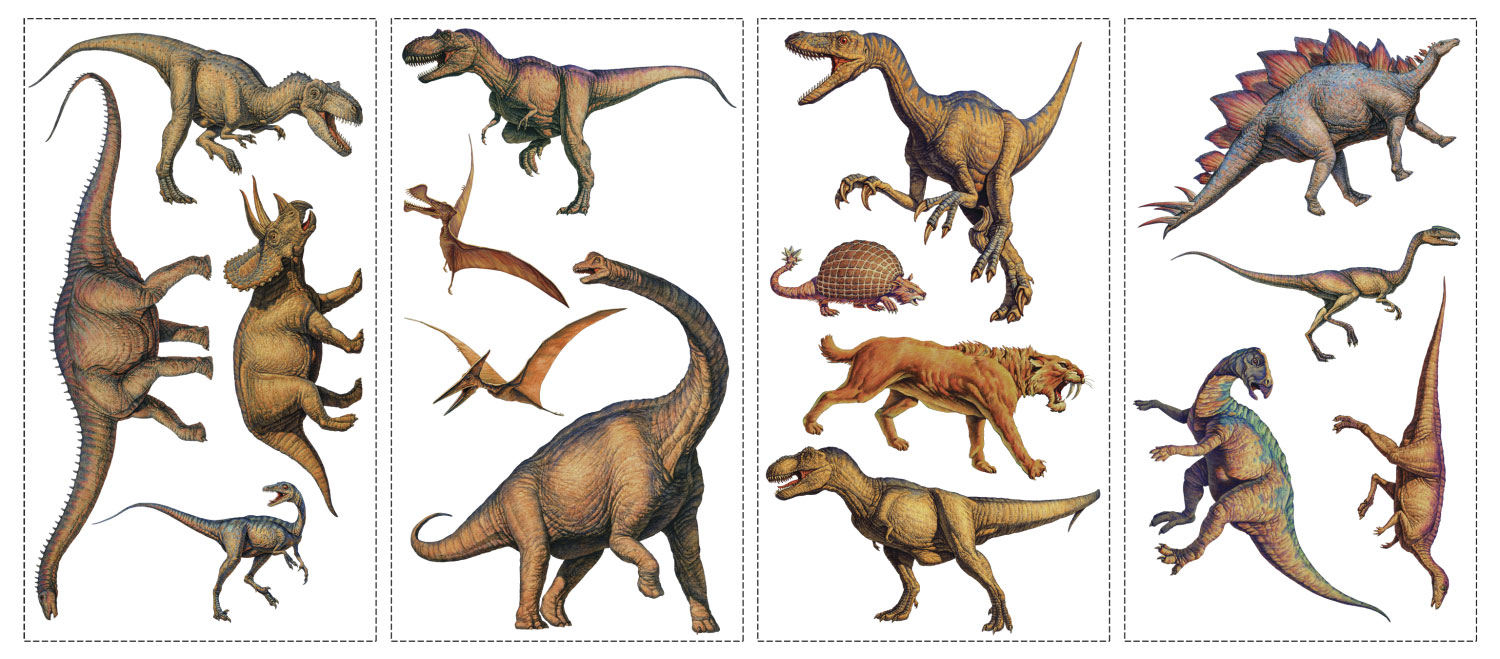 Dinosaurs - 16 Boys Room Wall Stickers - Accents RMK1043SCS