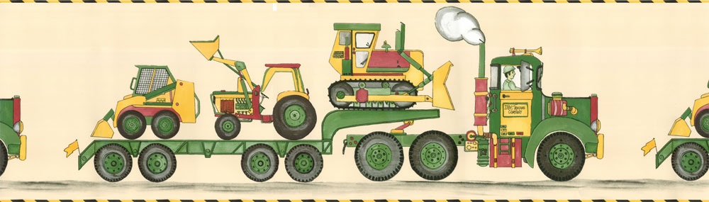Construction Equipment Wallpaper Border