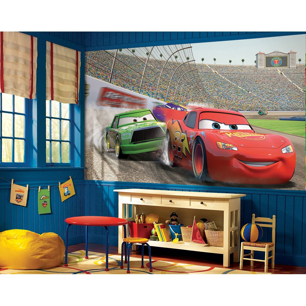 Fun race car bedroom decor ideas for Disney cars wall mural