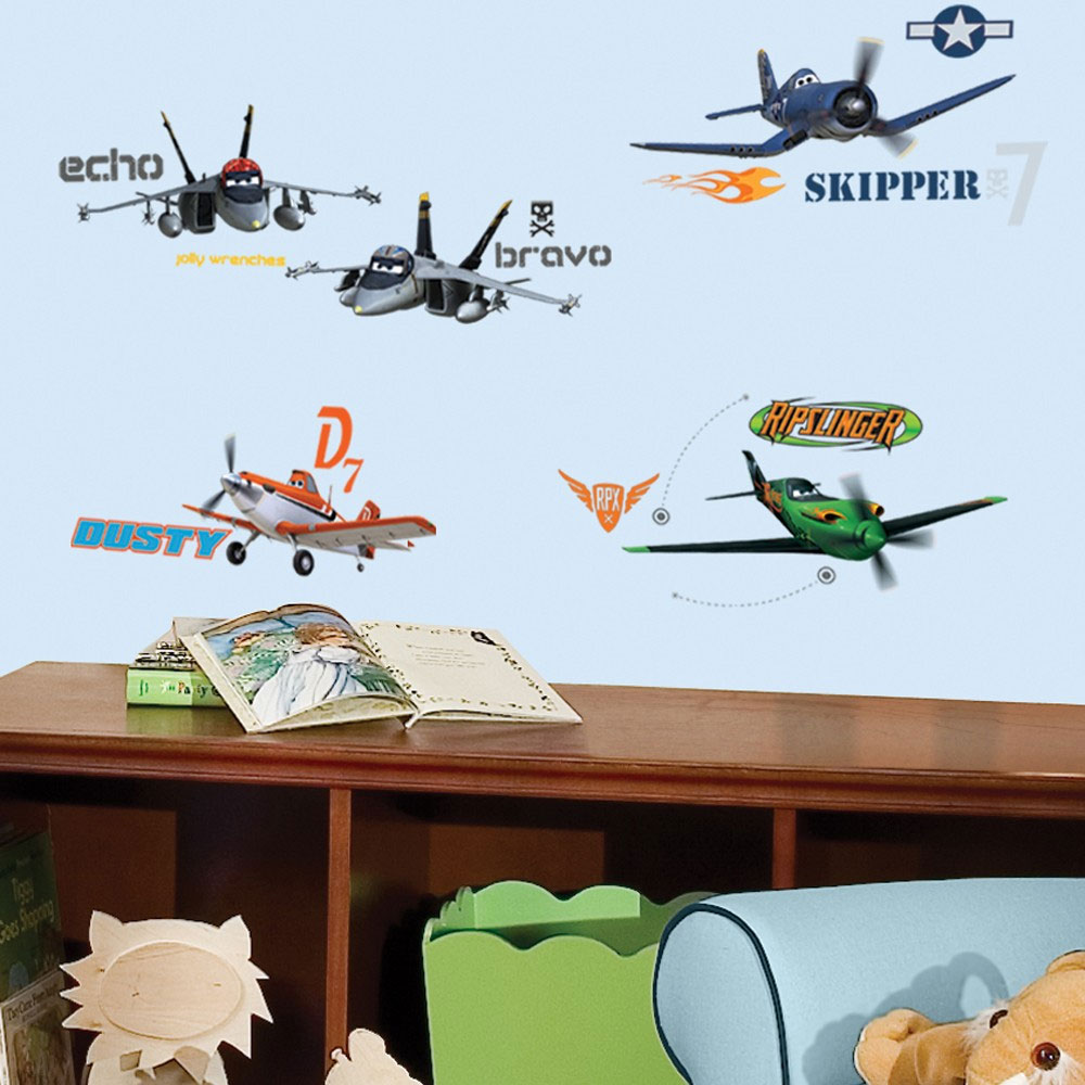 Disney planes wall stickers 43pc airplane self stick decals for Disney planes wall mural