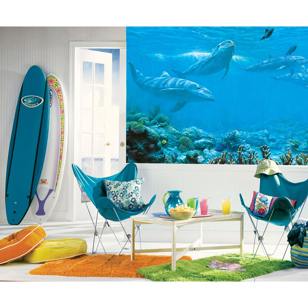 ocean dolphins wall mural under water wallpaper accent decor