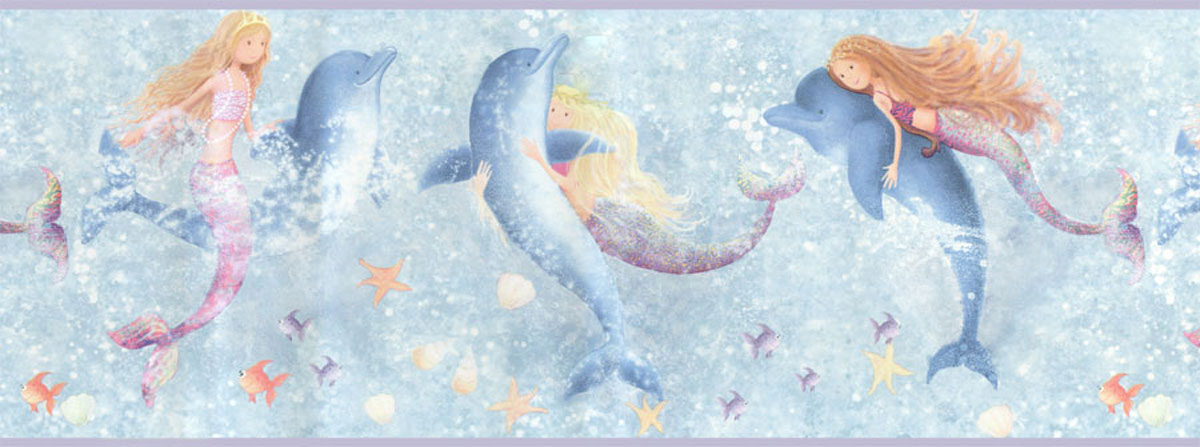 Mermaids Dolphins Wall Border Roll - Bathroom Wall Decor