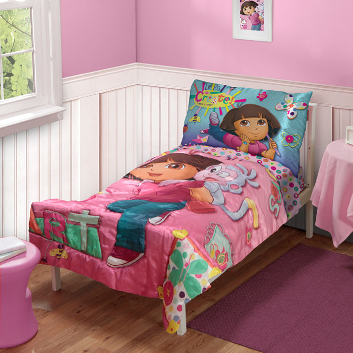 dora explorer satin art toddler bedding set 4pc boots create