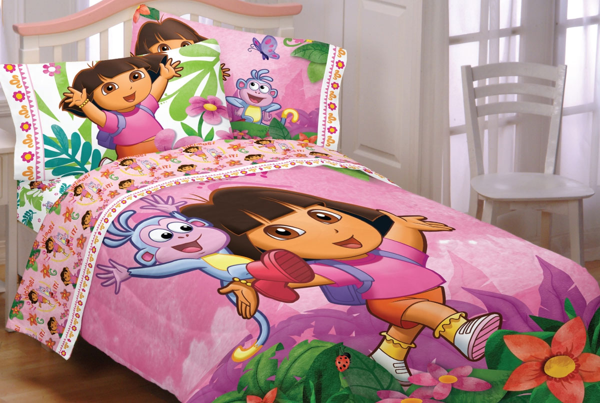 dora explorer run skip jump full double bedding set