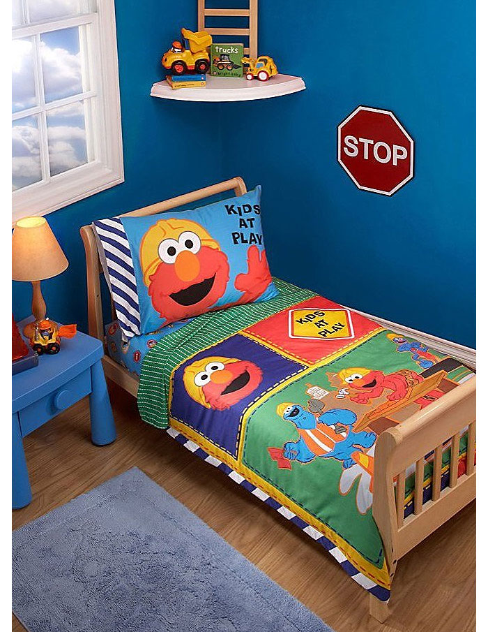 Elmo 4pc Construction Crib Bedding Set