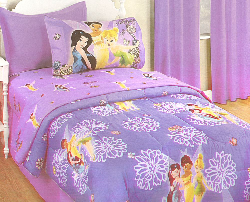 Disney Fairies Purple Flowers Twin Bed-in-a-Bag