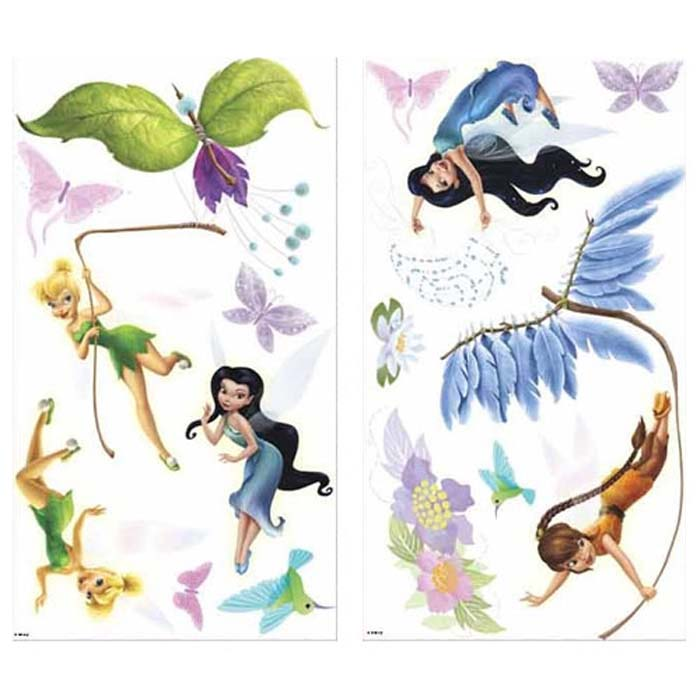 30pc disney fairies wall stickers tinkerbell accent for Disney tinkerbell mural
