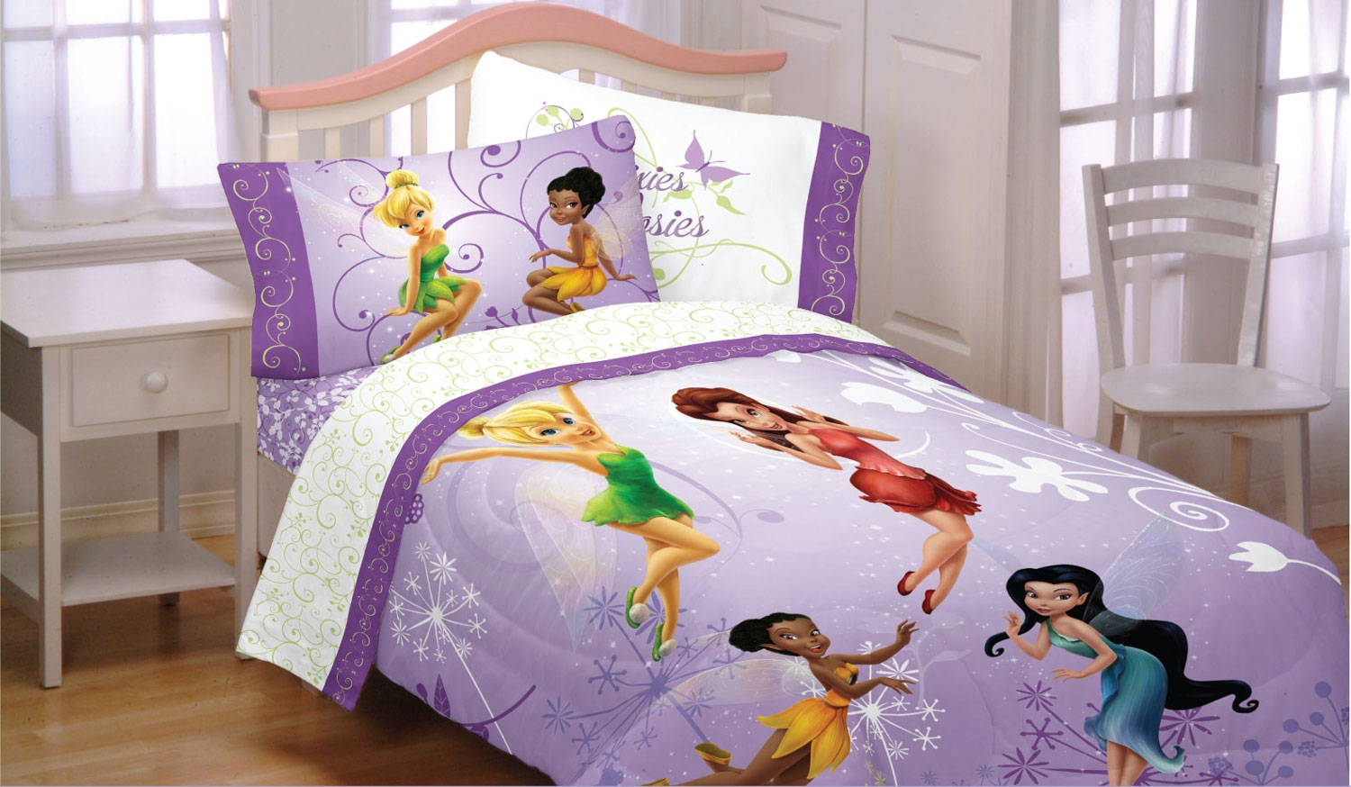 3pc Tinkerbell Flight Twin Bed Sheet Set