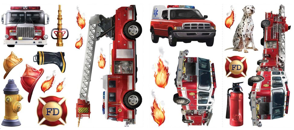 Fire Truck Brigade - 22 Boys Firefighters Wall Stickers-Decals RMK1125SCS