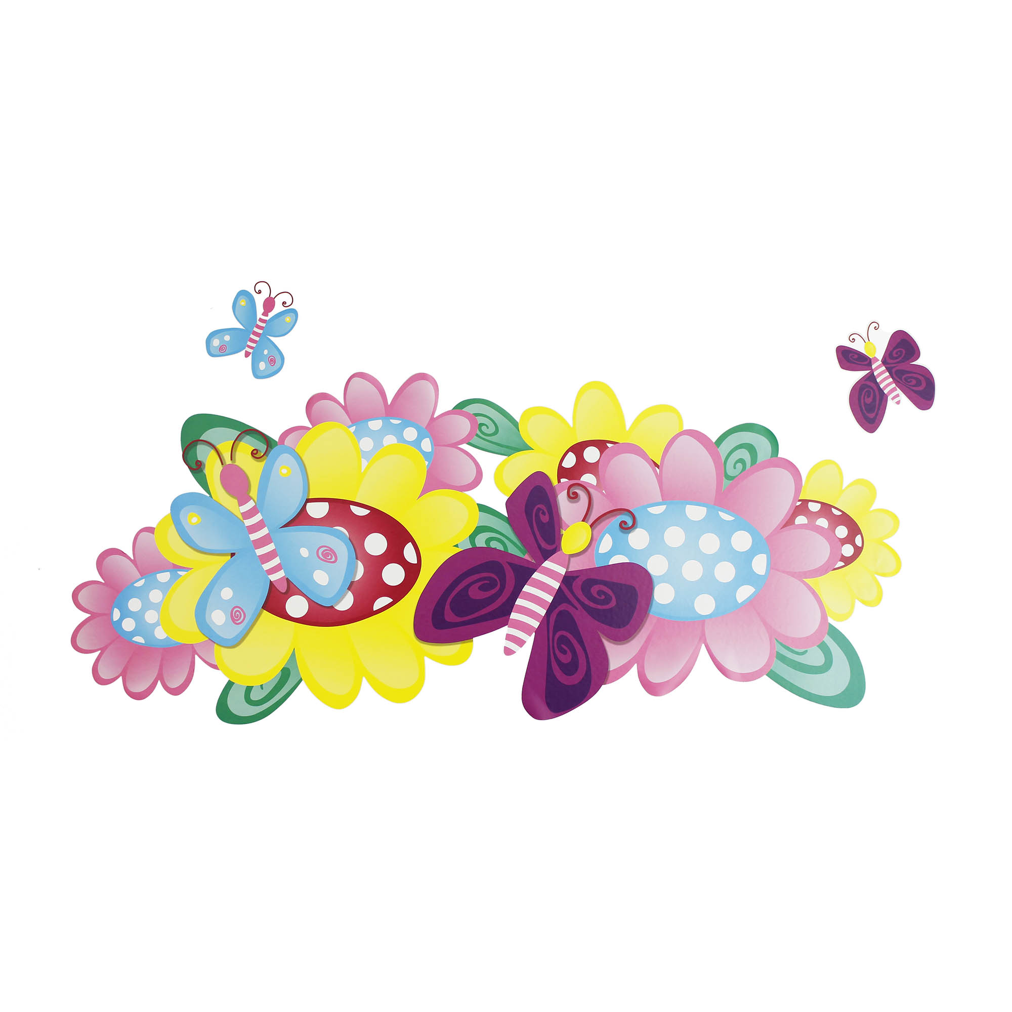 Butterfly and Flowers - 3pc Large Wall Accent Stickers Kit