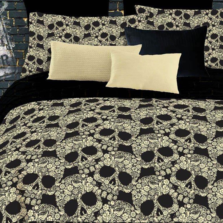 Twin/Full/King Flower Skulls Bedding Set