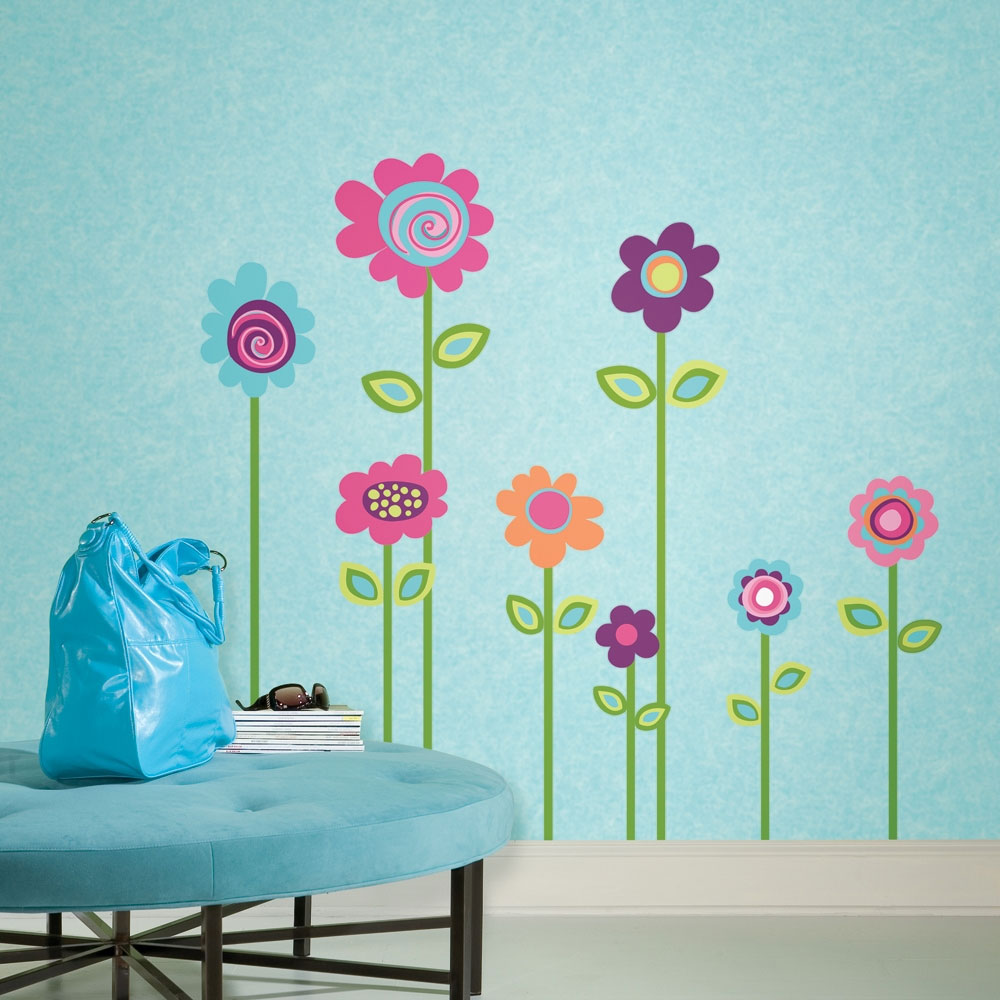 Flower Stripe Wall Accent Sticker Set
