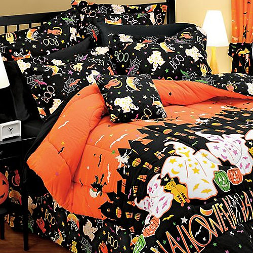 HALLOWEEN Haunted House Ghosts Decor FULL BEDDING SET