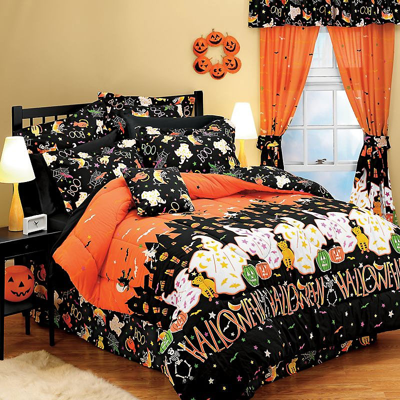 Halloween haunted house ghosts decor full bedding set ebay - Home decorated set ...