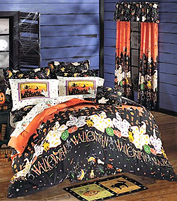 Halloween Haunted House - 9pc Ghosts BED IN A BAG - Holiday King Size