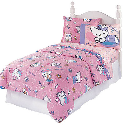 HELLO KITTY Slumber Party- 4pc BED IN BAG - Twin Size Bedding Set