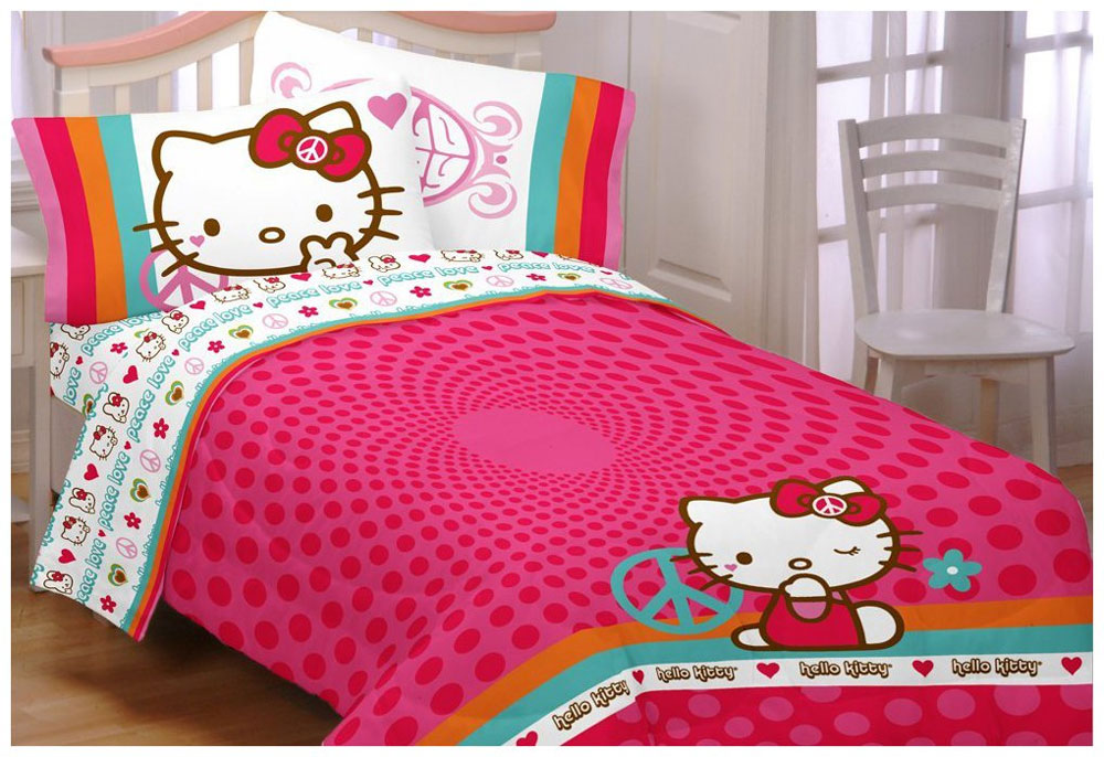 Hello Kitty Peace Love Sanrio Twin Bedding Sheets Set