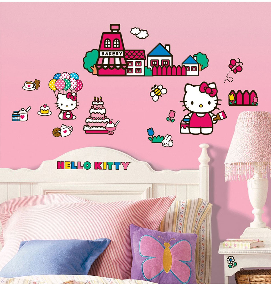Hello Kitty World Wall Stickers - Sanrio Peel-n-Stick Wall Decals RMK1678SCS