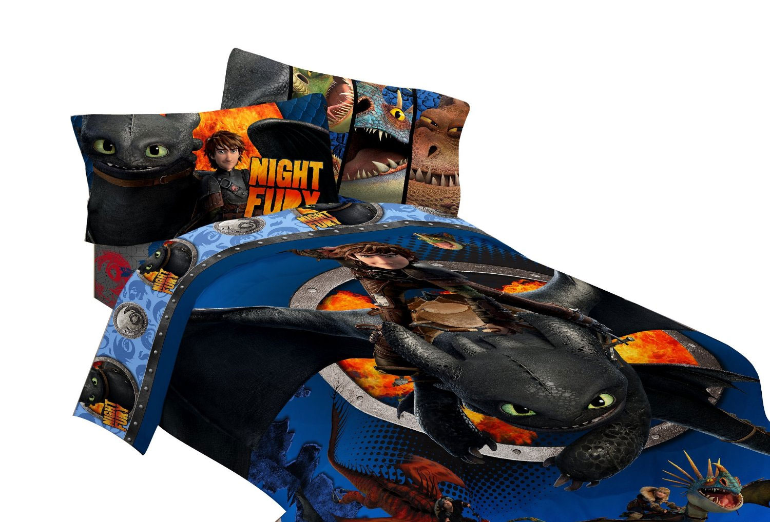 How to Train Your Dragon Twin Comforter - Hiccup and Toothless Dragon Flyer Bedding MJ429C