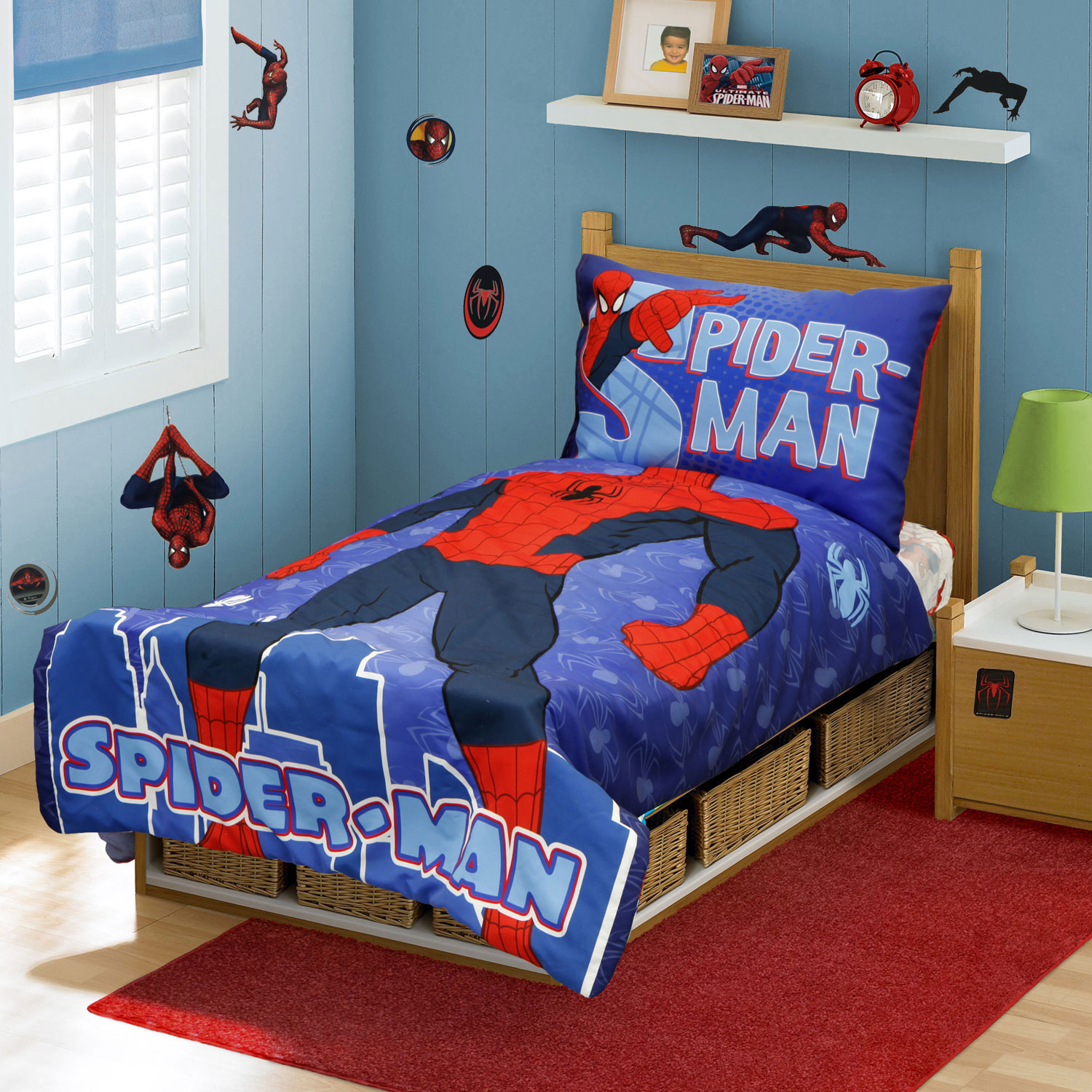 Spider-Man Toddler Bedding and Sticker Set - 28pc Superhero Suit Bedding and Decals